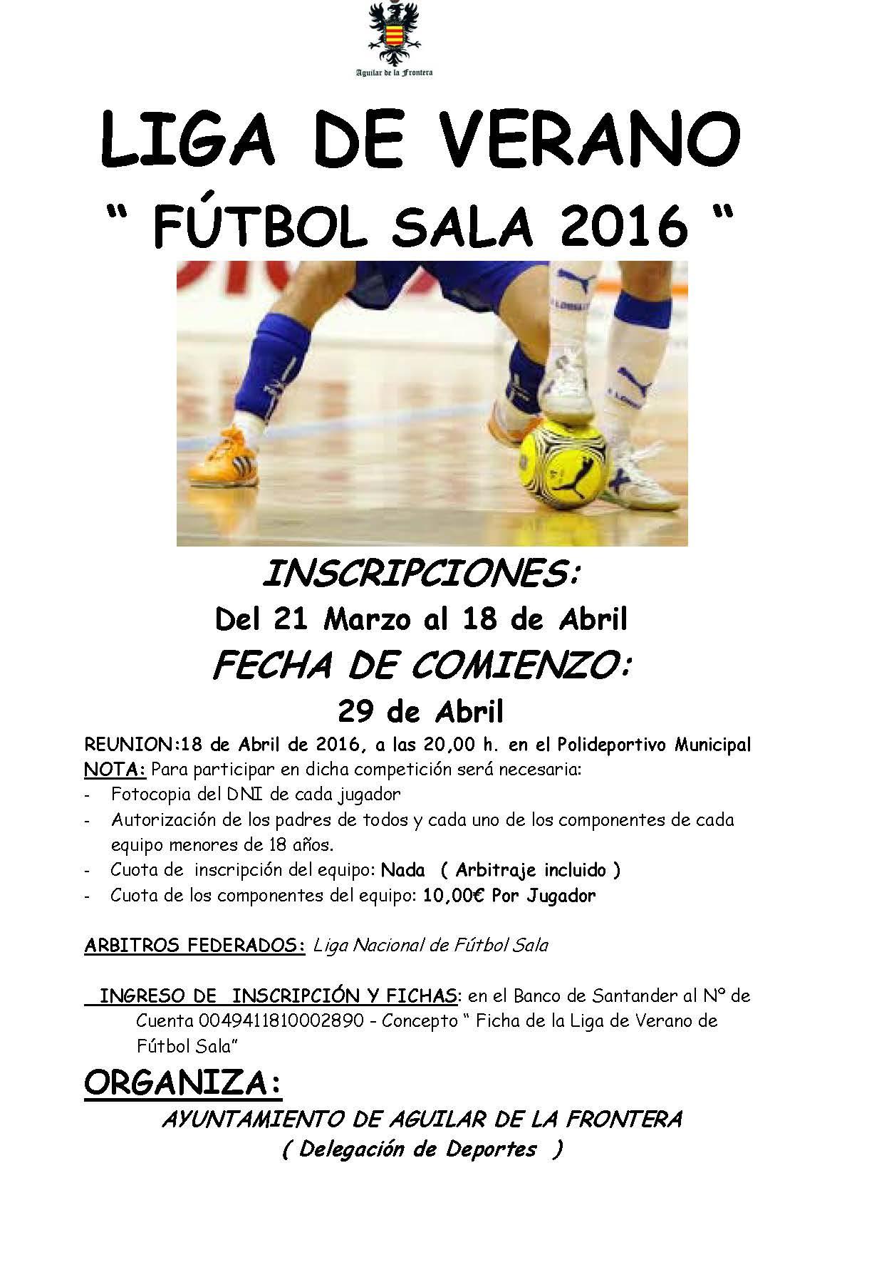 Liga de f tbol sala 2016 for Federacion de futbol sala